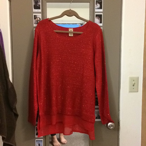 Faded Glory Sweaters - Women's Red Sequenced Sweater